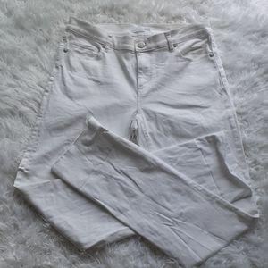 LOFT relaxed white raw hem Jeans